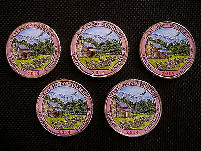 2014 Colorized Great Smoky Mountains National Park Quarters- P Mint(5 coins)