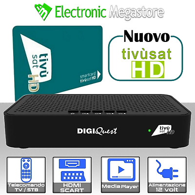 Ricevitore Decoder Digiquest Bware Combo Hdtv Dvb-S2/T Tivusat Nagra Box