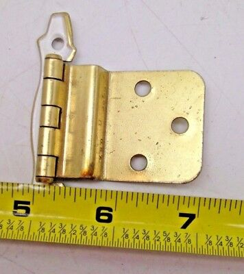 New Nos Lot Of 10 Pairs Vintage Cabinet Hinges Offset Brass Finish Gold White