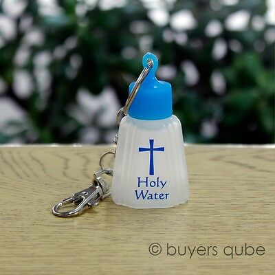 """Holy Water Key Chain Small Vial w/ Lobster Claw Lock 4"""" L"""