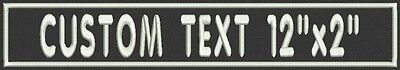 "Rectangle Custom Embroidered Name Tag, Biker Patch, badge 12"" x 2"""