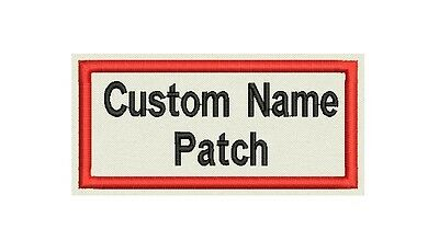 "Rectangle Custom Embroidered Name Tag, Biker Patch, badge 4"" x 2"""