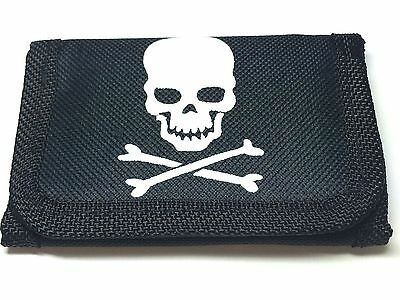 Small Black Pirate Wallet Size Approx.10.5 X7Cm Velcro Fastening Zip Compartment
