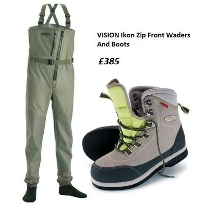 Vision Ikon Zip Front Stockingfoot Chest Waders WITH FREE BOOTS * 2017 Stock *