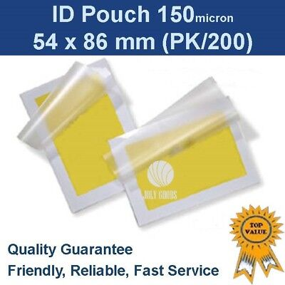ID Laminating Pouches 54mm x 86mm 150 Micron (x200)