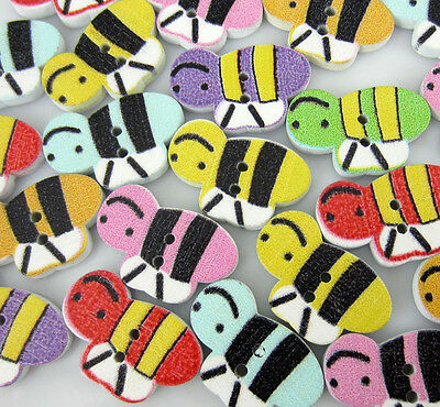 Free Shipping 100PCS Mixed Bee Pattern Painting  Wood Buttons 12x20mm