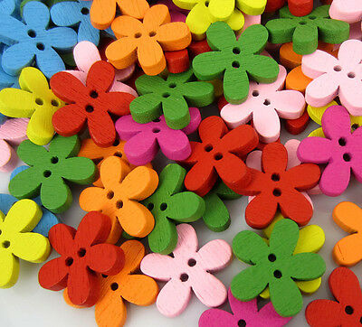 Free Shipping 100PCS Mixed Flower Pattern Painting  Wood Buttons 16.0mm