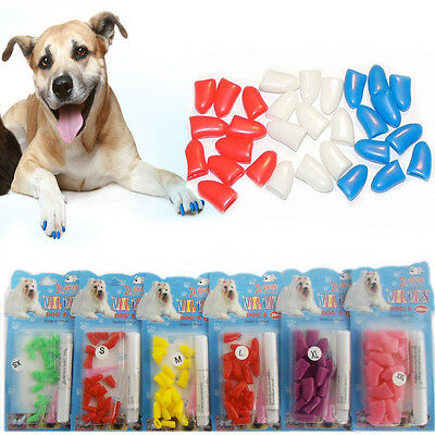 New Dog Nail Caps Clips Paw Guard Adhesive Nails Anti-Scratchy Pet Grooming 20pc