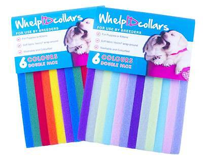 6 WhelpIDcollars - Whelping Puppy & Kitten ID Velcro Collar Bands - For Breeders