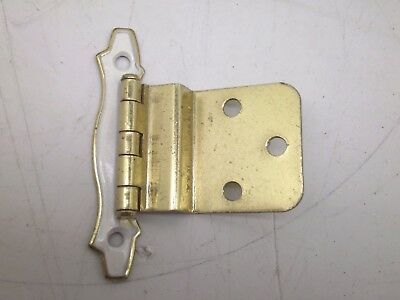 New Nos Lot Of 10 Pair Vintage Cabinet Hinges Offset Brass Gold White Finish