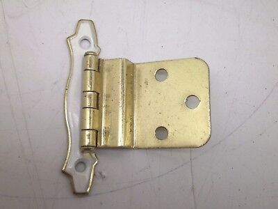 Nos 10 Pair (20 Hinges) Vintage Cabinet Hinges Offset Brass Gold White Finish