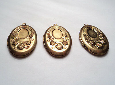 3- Vintage Brass Ornate Oval Lockets With Recess  -M225
