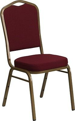 Commercial Quality Stackable Crown Back Banquet Chairs / Burgundy color fabric