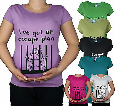 New Maternity Pregnancy 10- 20 Black Teal Cotton Baby Prisoner Top Tunic T-Shirt