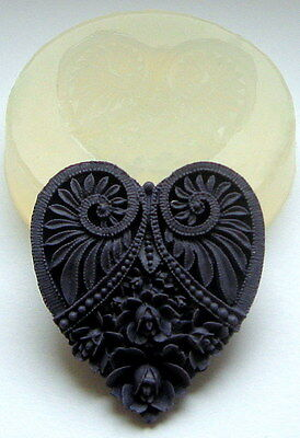 HEART - SILICONE MOULD  cupcake polymer clay fimo resin plaster chocolate mold