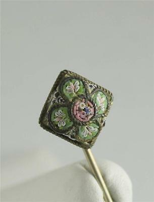 Antique Victorian Micro Mosaic Italy Signed FAP Stick Lapel Pin VTG Floral Green