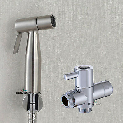 "Toilet  Bidet Sprayer Stainless Steel spray Shattaf Douche kit +G1/2"" T-Adapter"