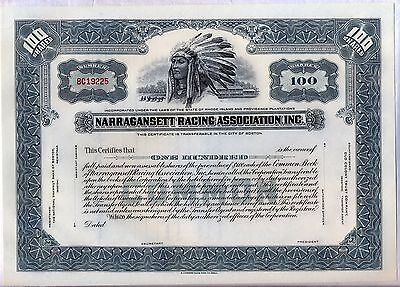 Narragansett Racing Association Inc. Stock Certificate Rhode Island Horse Grey