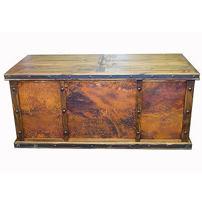 Laguna Copper Desk with 3 Copper Panels - Rustic - Western - Real Wood -