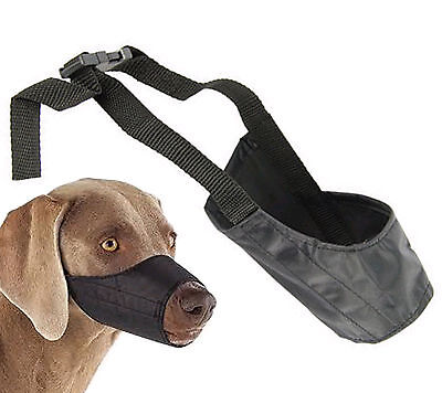 Dog muzzle muzzel pet puppy safety mouth cover adjustable stop bit chew bark nip