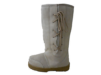 Genuine Sheepskin UGG Boots Lace Up Tall  Beige Colour On Special