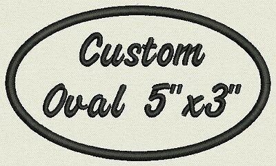 "Set of 2 Oval Custom Embroidered Name Tag, Biker Patch, badge 5"" x 3"""