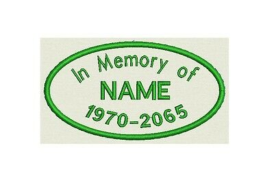Custom Embroidered Oval Name Tag, Biker Patch, badge in Memory of-  Sew, Iron on