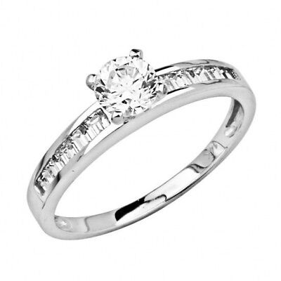 14K Solid White Gold 1ctw Round Cut Simulated Diamond Solitaire Engagement Ring