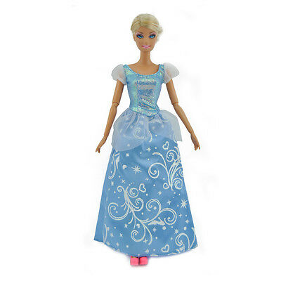 Handmade Outfit Gown Wedding Dress Blue Clothes For Barbie Cinderella Doll Gift