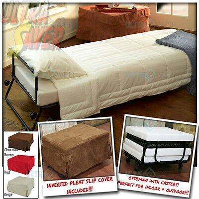 Ottoman Foldable Lounge Sofa Bed Foot Stool w/ Invert Pleat Slip Cover + Casters