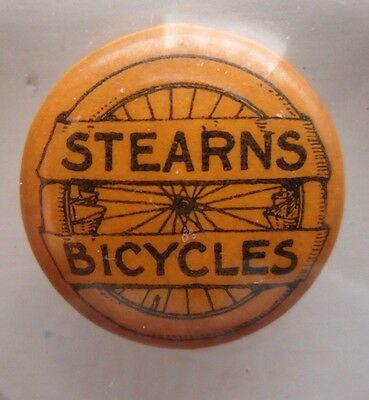 Antique Stearns Bicycles Collar Pin Advertising Transportation Bicycle Wheel