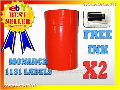 2 Sleeves Fluorescent Red Label For Monarch 1131 Pricing Gun 2 Sleeves=16Rolls