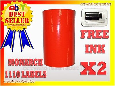 2 Sleeves Fluorescent Red Label For Monarch 1110 Pricing Gun 2 Sleeves=32Rolls