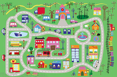 3x5  Area Rug Kids Play Road  Street City Country Map Fun Driving New 3'3'x4'10""