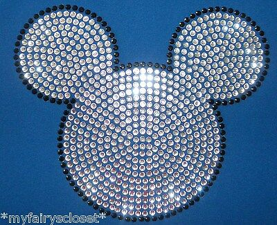 """7.6"""" clear Mickey Mouse iron on rhinestone transfer for shirt applique patch"""