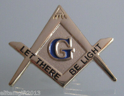 Masonic Gold Tone Square and Compass LET THERE BE LIGHT Lapel Pin