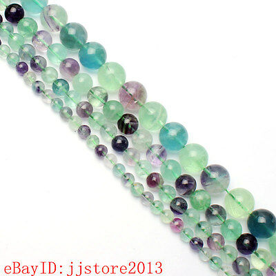 """6.8.10.12.14mm Natural Mixed Fluorite Round Shape Gems Loose Beads Strand 15"""""""