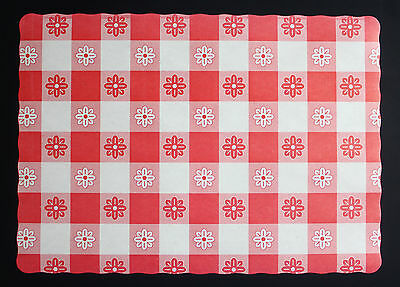25 Pack Of Red Gingham Paper Placemats Free Shipping