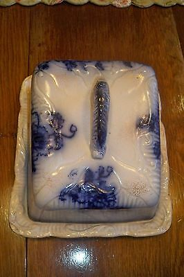 Antique Flow Blue English Pottery Covered Cheese Dome.