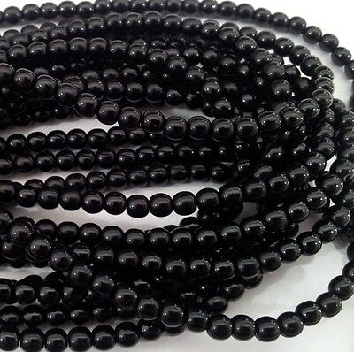 3mm, 4mm, 6mm or 8mm Jet Black Czech Glass Round Beads - No. 2398