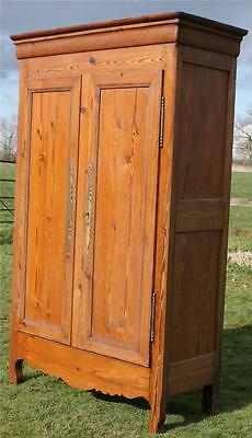 FANTASTIC IMPOSING 19th CENTURY ANTIQUE FRENCH SOLID PINE ARMOIRE  WARDROBE