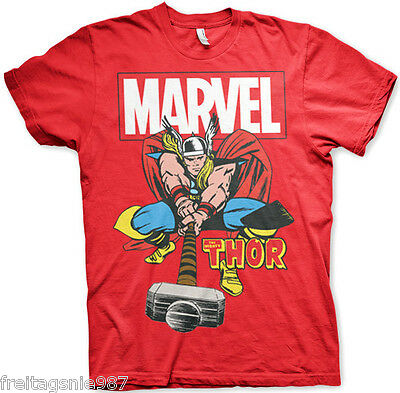MARVEL THOR HAMMER Distressed  T-Shirt  camiseta cotton officially licensed