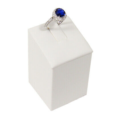 Ring Tower Small Single Jewelry Display Plain White Faux Leather
