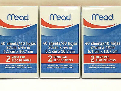 Mead 45210 Memo Book Refill Paper Pads for Mead 45890 Memo Book 3 packs, 6 pads
