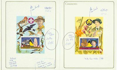 St. Lucia 1986 Scouts/Girl Guides SSs, proofs in printer's presentation folders
