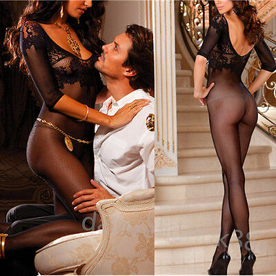 Sexy ladies women's crotchless fishnet bodystocking lingerie nightwear UK 6-14