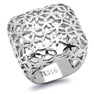 Stainless Steel Square Shape Silver Tone Dome Style Modern Ladies Ring Size 5-10