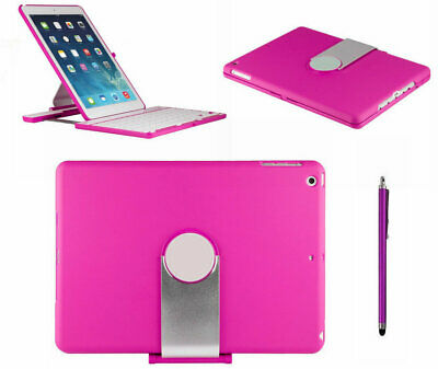 360 Swivel Students Bluetooth Keyboard Case with Pink IPad Cover For ipad Air 2