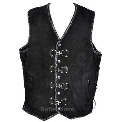 Motorcycle Vest Buckle Leather Biker Suede Rider Waistcoat Double Hand Braided