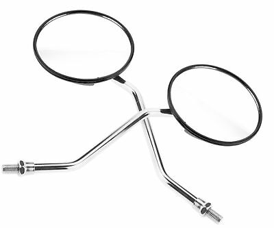 2x Universal Motorcycle Rear View Mirror 10MM Black & Chrome
